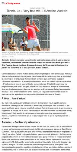 Article Le Telegramme 05 aout 2020