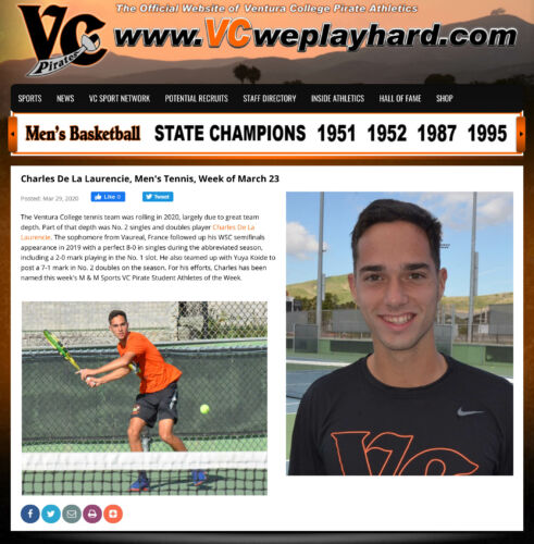 VC Student Athlete of the Week (20200329)