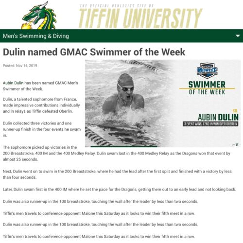 GMAC Swimmer of the Week (novembre 2019)