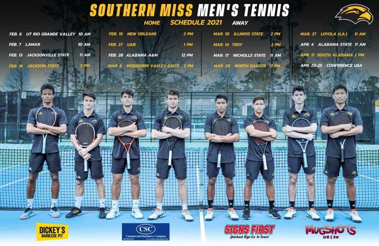 USM Men's Tennis Schedule 2021