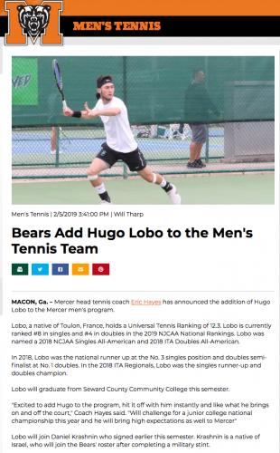 Transfert d'Hugo pour Mercer U en NCAA D1